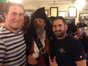 Me and Rob with the scary pirate aka Captain Barposer
