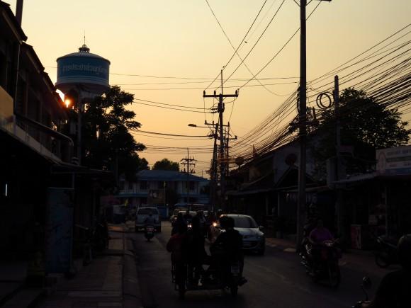 The sun setting on Kanchanaburi