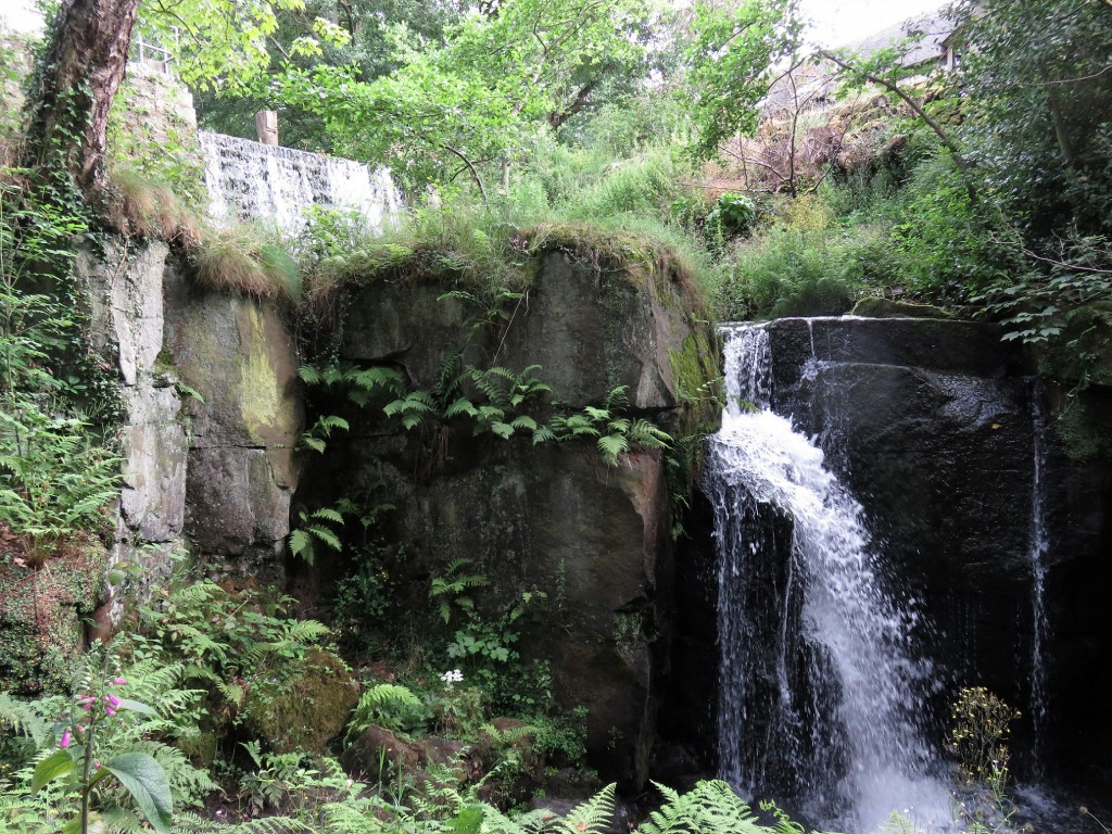 The upper tier of the falls with the steeped dam wall to the rear